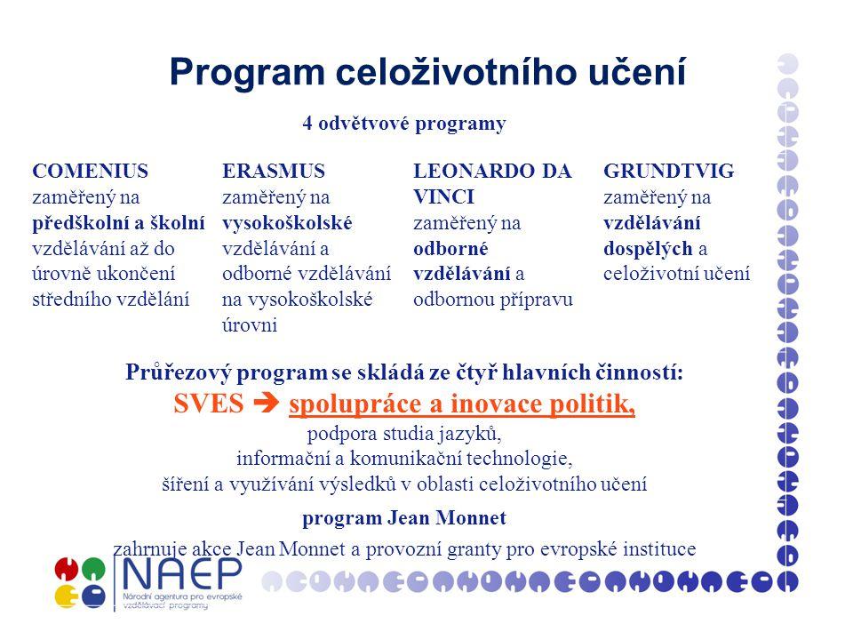 Program celoživotního učení 4 odvětvové programy COMENIUS zaměřený na předškolní a školní vzdělávání až do úrovně ukončení středního vzdělání ERASMUS zaměřený na vysokoškolské vzdělávání a odborné vzdělávání na vysokoškolské úrovni LEONARDO DA VINCI zaměřený na odborné vzdělávání a odbornou přípravu GRUNDTVIG zaměřený na vzdělávání dospělých a celoživotní učení Průřezový program se skládá ze čtyř hlavních činností: SVES  spolupráce a inovace politik, podpora studia jazyků, informační a komunikační technologie, šíření a využívání výsledků v oblasti celoživotního učení program Jean Monnet zahrnuje akce Jean Monnet a provozní granty pro evropské instituce