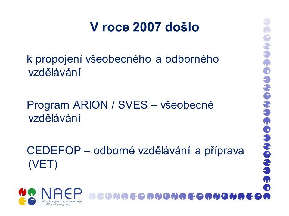 V roce 2007 došlo k propojení všeobecného a odborného vzdělávání Program ARION / SVES – všeobecné vzdělávání CEDEFOP – odborné vzdělávání a příprava (VET)