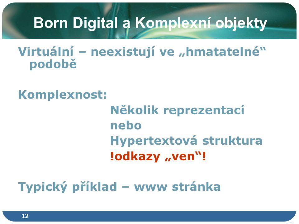 """12 Born Digital a Komplexní objekty Virtuální – neexistují ve """"hmatatelné podobě Komplexnost: Několik reprezentací nebo Hypertextová struktura !odkazy """"ven ."""