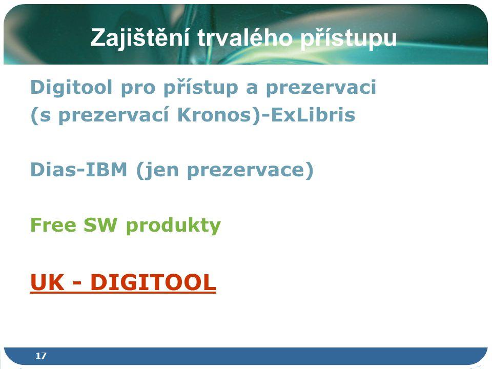 17 Zajištění trvalého přístupu Digitool pro přístup a prezervaci (s prezervací Kronos)-ExLibris Dias-IBM (jen prezervace) Free SW produkty UK - DIGITOOL