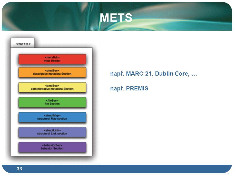 23 METS např. MARC 21, Dublin Core, … např. PREMIS