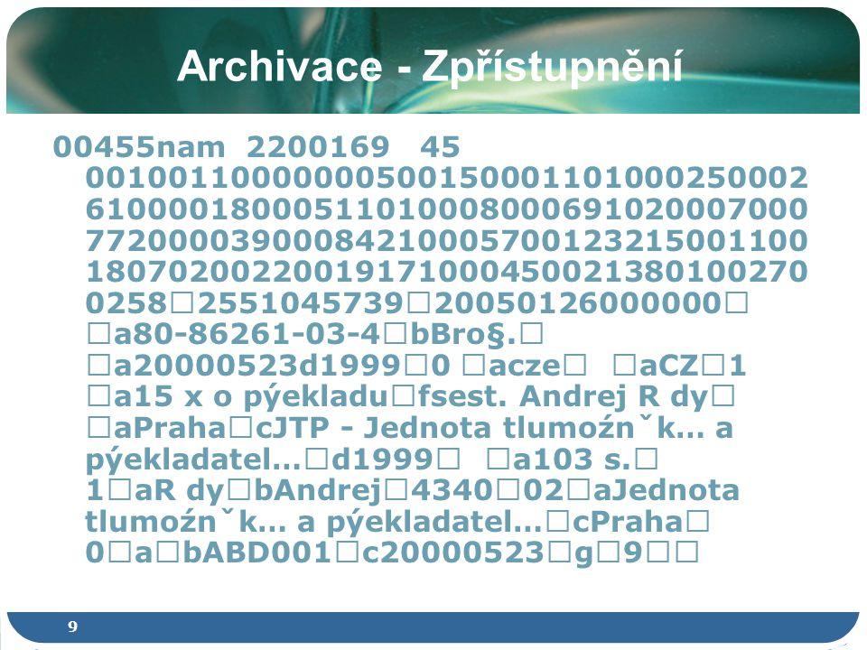 20 Přístup k čemu? Příklad – eVSKP: Popis DC Formáty pdf a zip Vždy METS a PREMIS