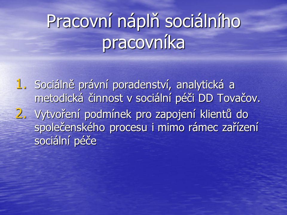 Pracovní náplň sociálního pracovníka 1. Sociálně právní poradenství, analytická a metodická činnost v sociální péči DD Tovačov. 2. Vytvoření podmínek