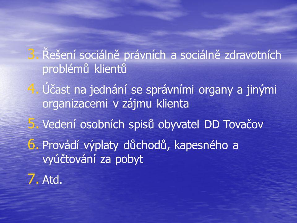 3. Řešení sociálně právních a sociálně zdravotních problémů klientů 4. Účast na jednání se správními organy a jinými organizacemi v zájmu klienta 5. V