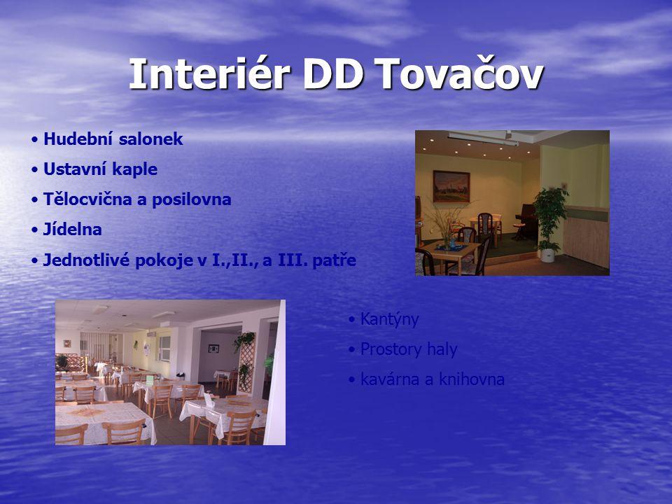 Interiér DD Tovačov Hudební salonek Ustavní kaple Tělocvična a posilovna Jídelna Jednotlivé pokoje v I.,II., a III.