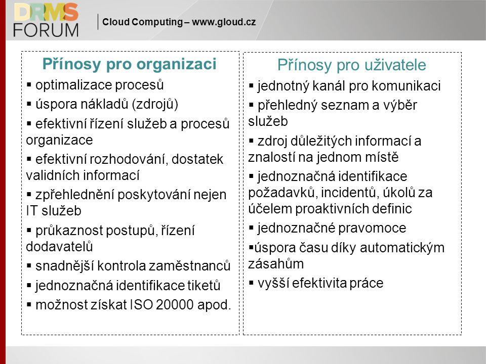 Cloud Computing – www.gloud.cz Přínosy pro organizaci  optimalizace procesů  úspora nákladů (zdrojů)  efektivní řízení služeb a procesů organizace