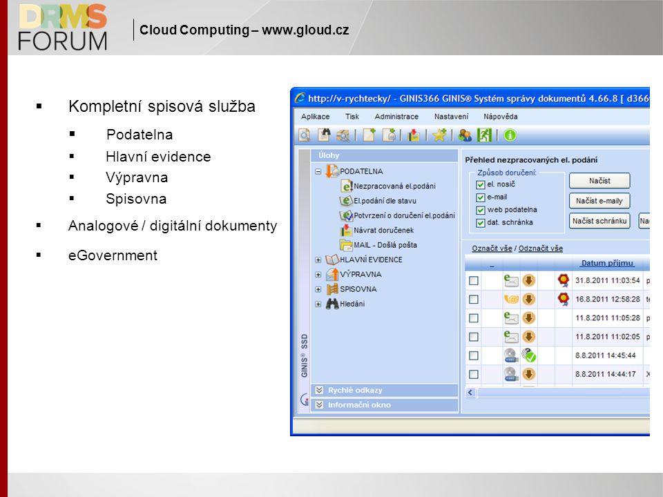 Cloud Computing – www.gloud.cz  Kompletní spisová služba  Podatelna  Hlavní evidence  Výpravna  Spisovna  Analogové / digitální dokumenty  eGov