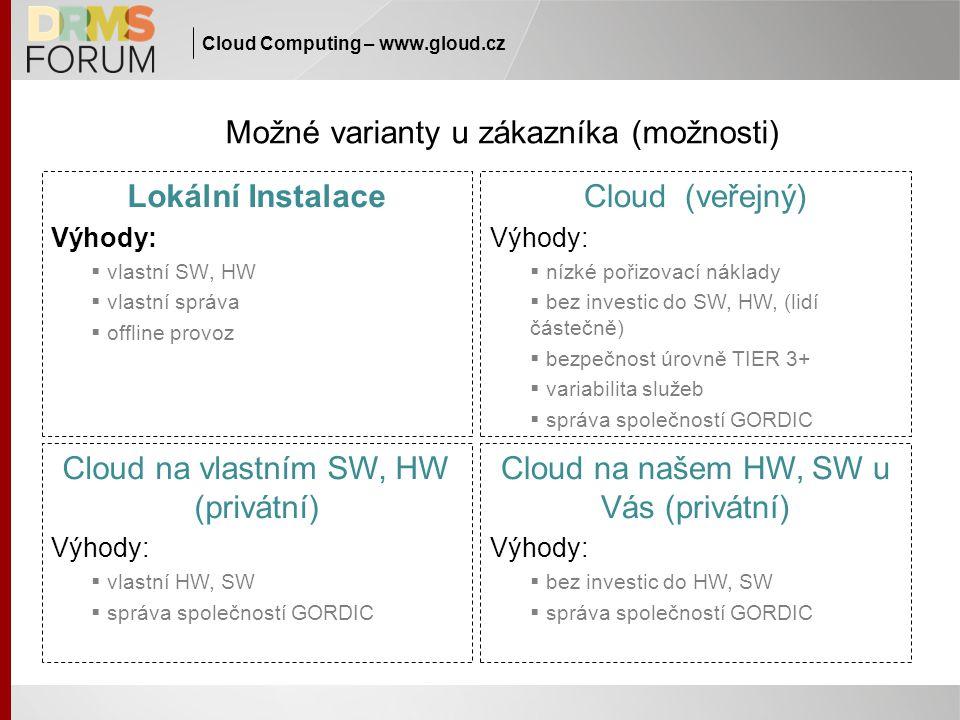 Cloud Computing – www.gloud.cz Možné varianty u zákazníka (možnosti) Lokální Instalace Výhody:  vlastní SW, HW  vlastní správa  offline provoz Clou