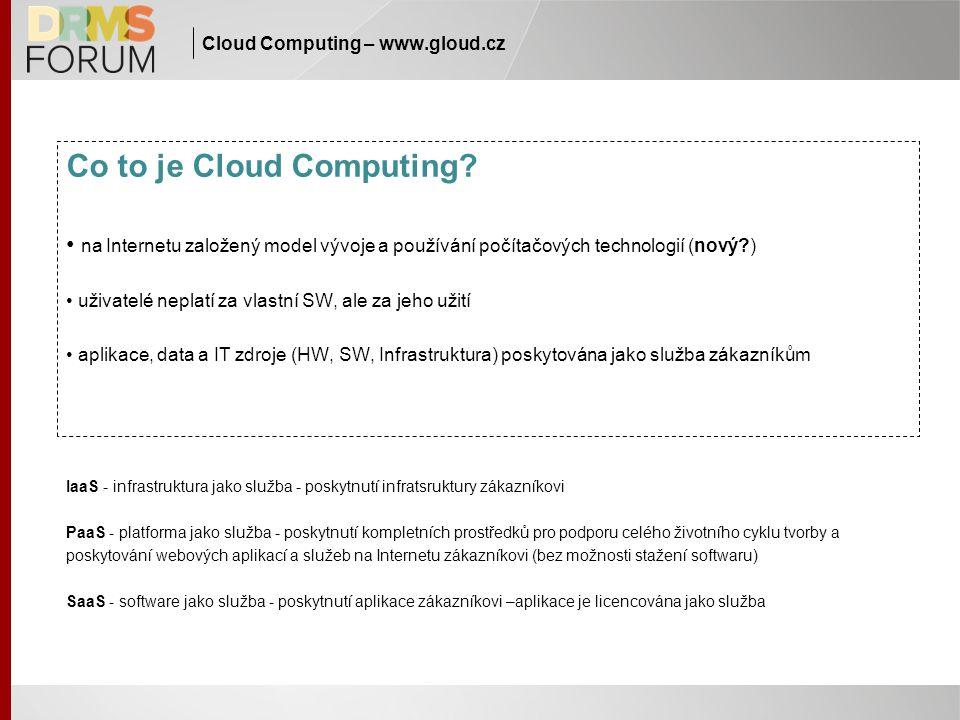 Cloud Computing – www.gloud.cz Co to je Cloud Computing? na Internetu založený model vývoje a používání počítačových technologií (nový?) uživatelé nep