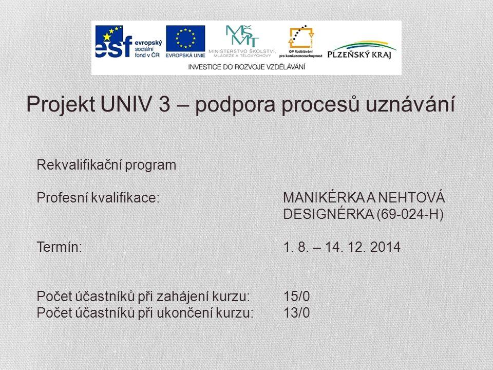 Projekt UNIV 3 – podpora procesů uznávání Rekvalifikační program Profesní kvalifikace:MANIKÉRKA A NEHTOVÁ DESIGNÉRKA (69-024-H) Termín:1.