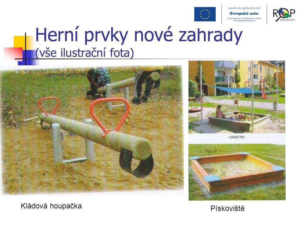 Herní prvky nové zahrady (vše ilustrační fota) Kládová houpačka Pískoviště