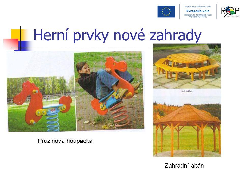 Herní prvky nové zahrady Pružinová houpačka Zahradní altán