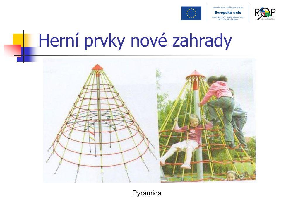 Herní prvky nové zahrady Pyramida