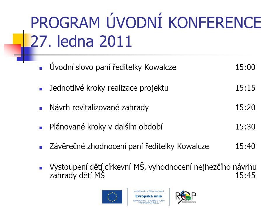 PROGRAM ÚVODNÍ KONFERENCE 27. ledna 2011 Úvodní slovo paní ředitelky Kowalcze15:00 Jednotlivé kroky realizace projektu15:15 Návrh revitalizované zahra