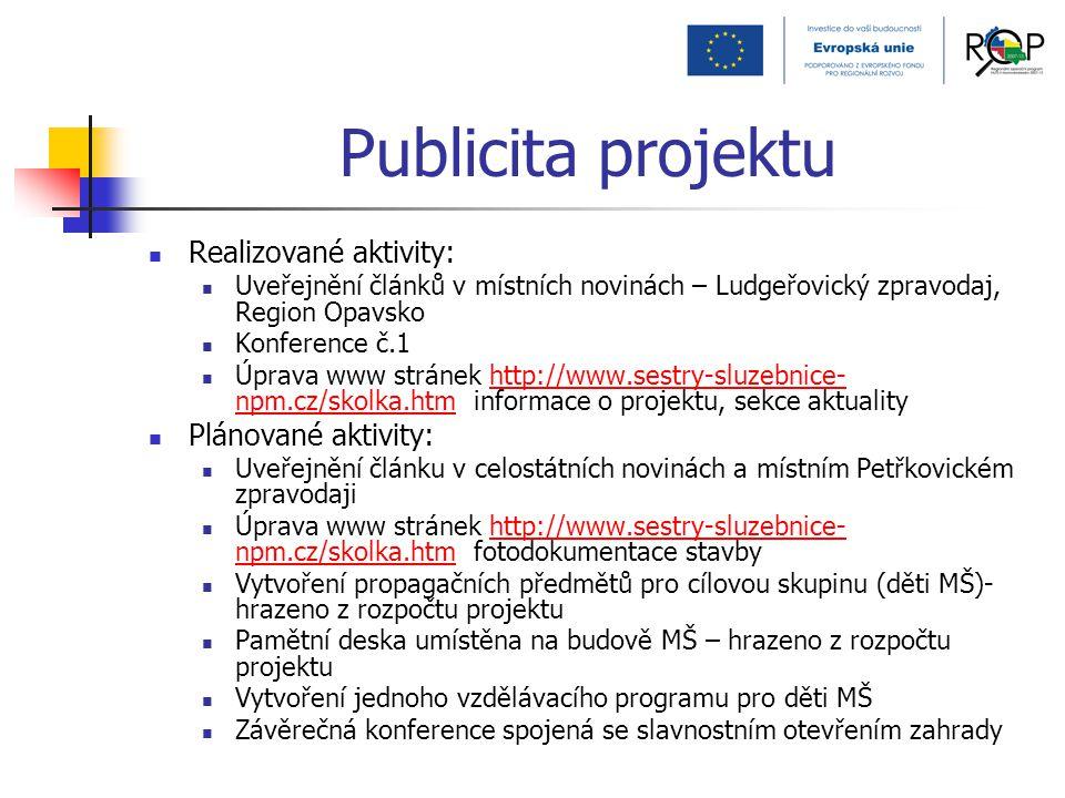 Publicita projektu Realizované aktivity: Uveřejnění článků v místních novinách – Ludgeřovický zpravodaj, Region Opavsko Konference č.1 Úprava www strá