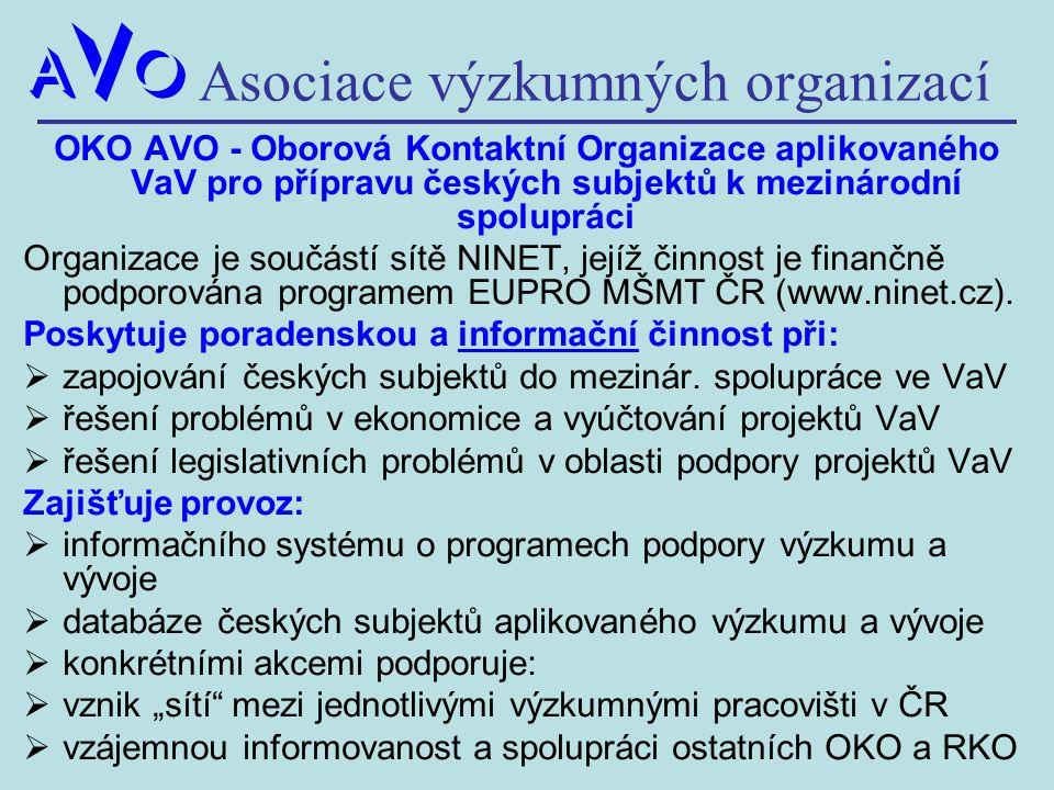 Asociace výzkumných organizací OKO AVO - Oborová Kontaktní Organizace aplikovaného VaV pro přípravu českých subjektů k mezinárodní spolupráci Organiza