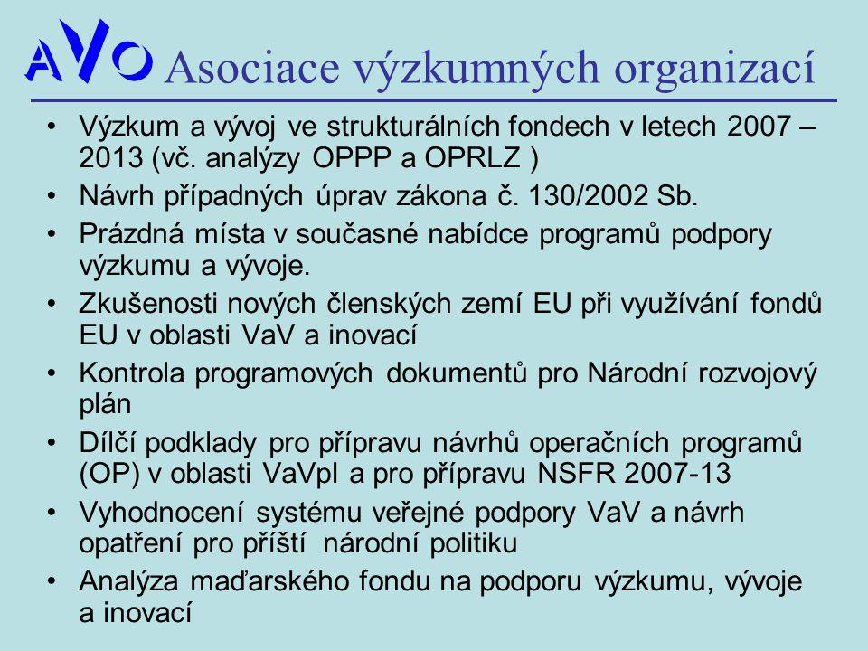 Asociace výzkumných organizací Výzkum a vývoj ve strukturálních fondech v letech 2007 – 2013 (vč. analýzy OPPP a OPRLZ ) Návrh případných úprav zákona