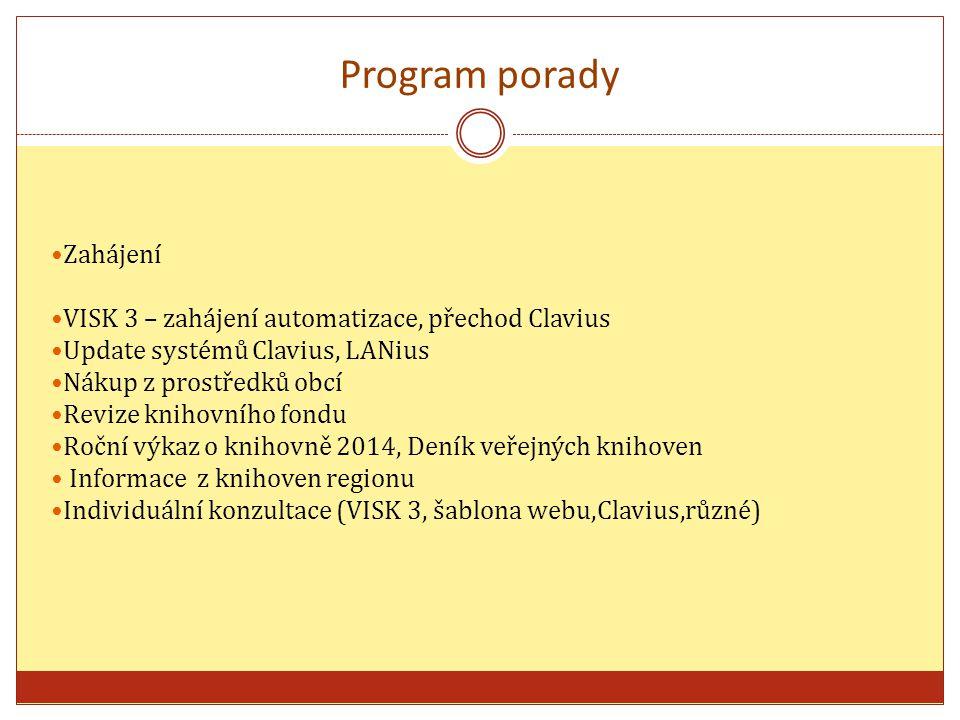 Zahájení VISK 3 – zahájení automatizace, přechod Clavius Update systémů Clavius, LANius Nákup z prostředků obcí Revize knihovního fondu Roční výkaz o knihovně 2014, Deník veřejných knihoven Informace z knihoven regionu Individuální konzultace (VISK 3, šablona webu,Clavius,různé) Program porady