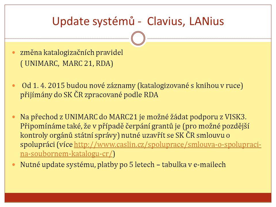 Update systémů - Clavius, LANius změna katalogizačních pravidel ( UNIMARC, MARC 21, RDA) Od 1.