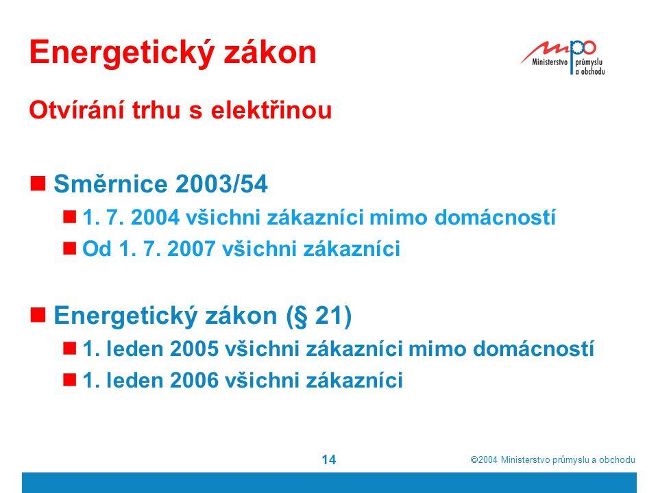  2004  Ministerstvo průmyslu a obchodu 14 Energetický zákon Otvírání trhu s elektřinou Směrnice 2003/54 1. 7. 2004 všichni zákazníci mimo domácnost