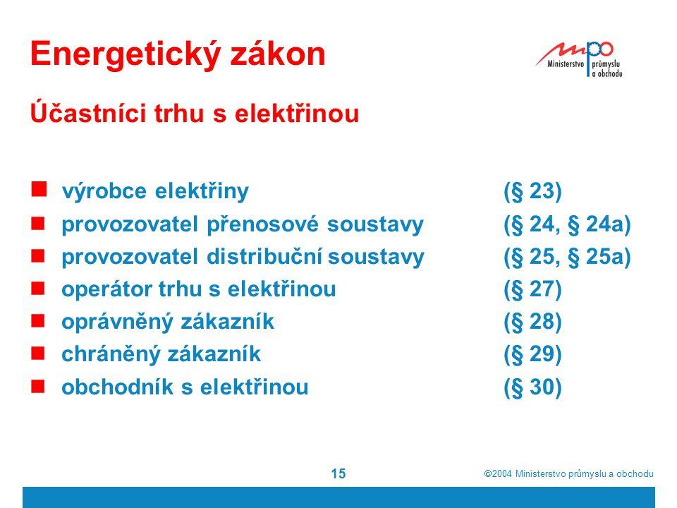  2004  Ministerstvo průmyslu a obchodu 15 Energetický zákon Účastníci trhu s elektřinou výrobce elektřiny(§ 23) provozovatel přenosové soustavy(§ 24, § 24a) provozovatel distribuční soustavy(§ 25, § 25a) operátor trhu s elektřinou(§ 27) oprávněný zákazník(§ 28) chráněný zákazník(§ 29) obchodník s elektřinou(§ 30)
