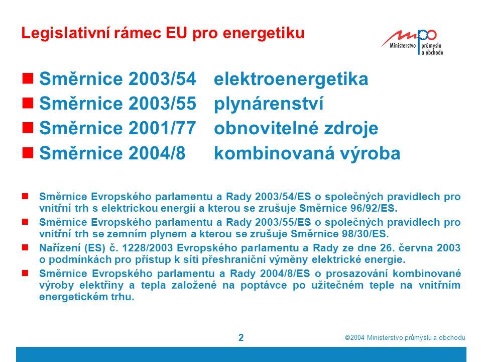  2004  Ministerstvo průmyslu a obchodu 2 Legislativní rámec EU pro energetiku Směrnice 2003/54elektroenergetika Směrnice 2003/55plynárenství Směrnice 2001/77obnovitelné zdroje Směrnice 2004/8kombinovaná výroba Směrnice Evropského parlamentu a Rady 2003/54/ES o společných pravidlech pro vnitřní trh s elektrickou energií a kterou se zrušuje Směrnice 96/92/ES.
