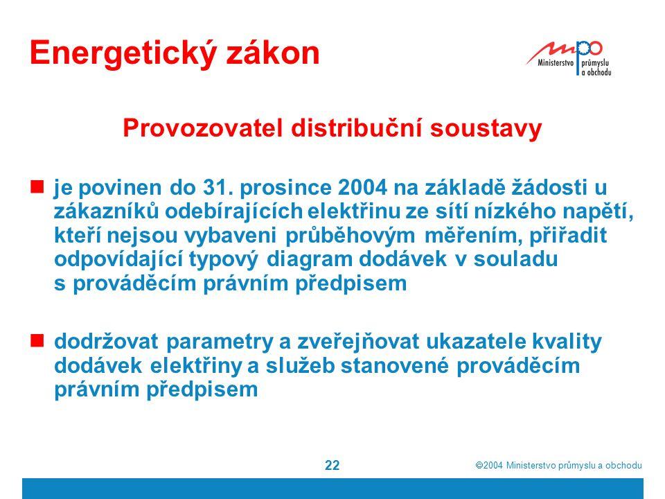  2004  Ministerstvo průmyslu a obchodu 22 Energetický zákon Provozovatel distribuční soustavy je povinen do 31. prosince 2004 na základě žádosti u