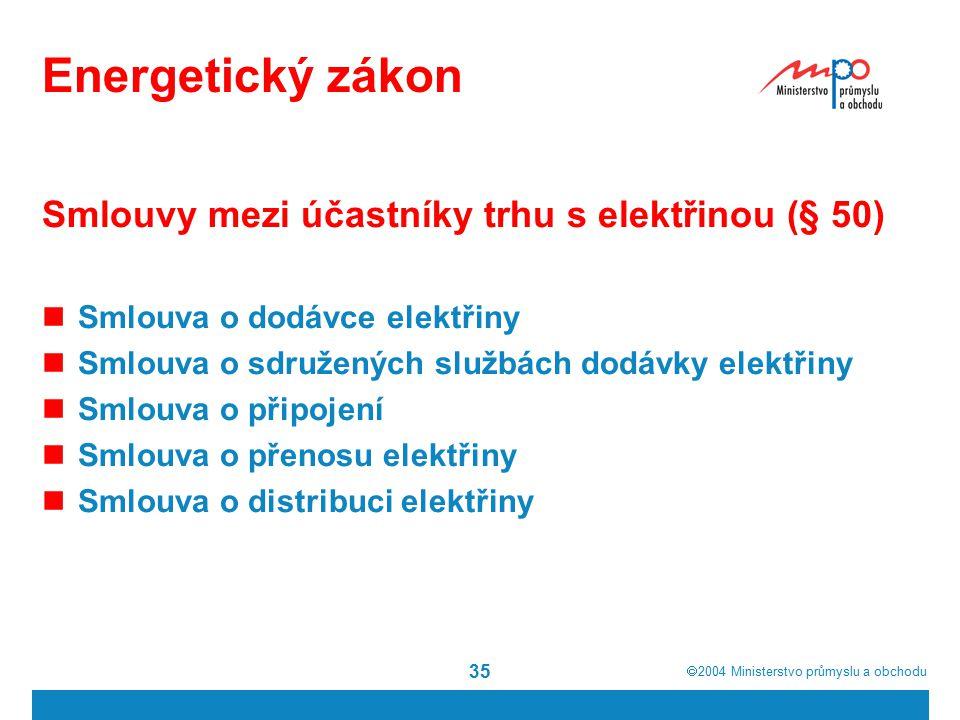  2004  Ministerstvo průmyslu a obchodu 35 Energetický zákon Smlouvy mezi účastníky trhu s elektřinou (§ 50) Smlouva o dodávce elektřiny Smlouva o sdružených službách dodávky elektřiny Smlouva o připojení Smlouva o přenosu elektřiny Smlouva o distribuci elektřiny