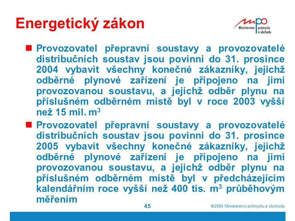  2004  Ministerstvo průmyslu a obchodu 45 Energetický zákon Provozovatel přepravní soustavy a provozovatelé distribučních soustav jsou povinni do 3