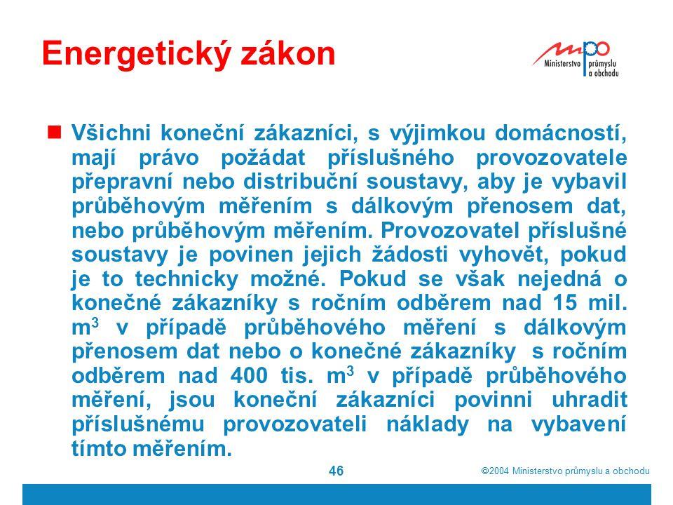  2004  Ministerstvo průmyslu a obchodu 46 Energetický zákon Všichni koneční zákazníci, s výjimkou domácností, mají právo požádat příslušného provoz