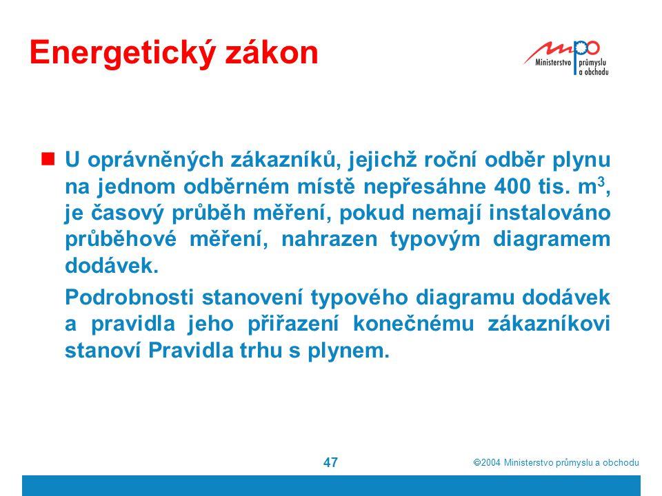  2004  Ministerstvo průmyslu a obchodu 47 Energetický zákon U oprávněných zákazníků, jejichž roční odběr plynu na jednom odběrném místě nepřesáhne 400 tis.