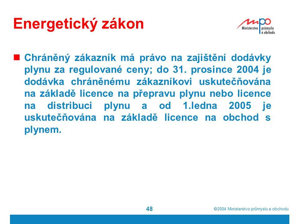  2004  Ministerstvo průmyslu a obchodu 48 Energetický zákon Chráněný zákazník má právo na zajištění dodávky plynu za regulované ceny; do 31. prosin