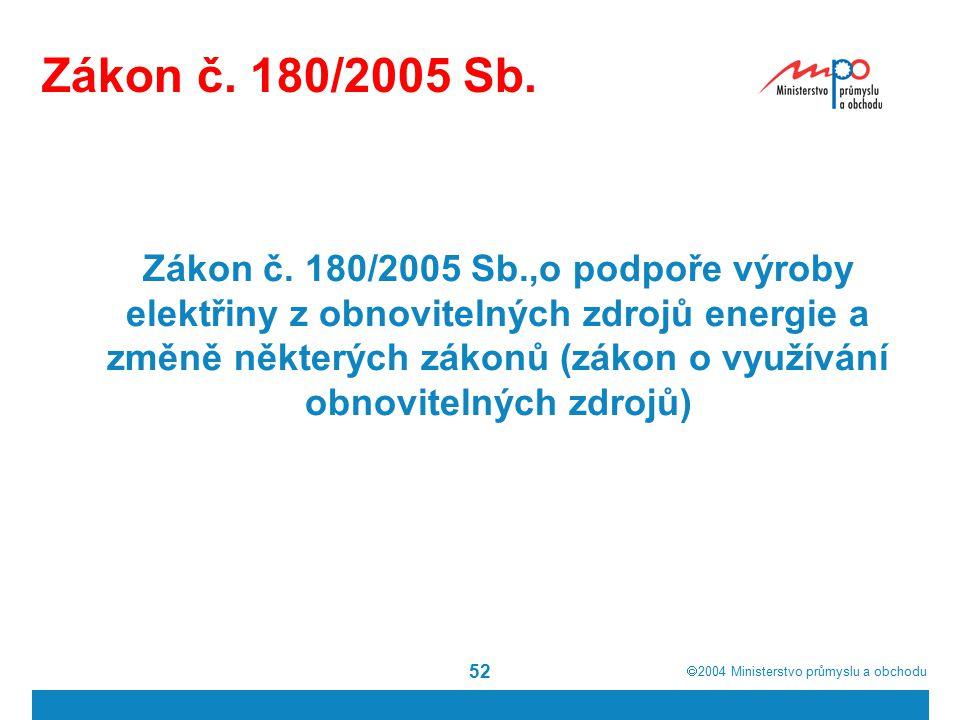  2004  Ministerstvo průmyslu a obchodu 52 Zákon č. 180/2005 Sb. Zákon č. 180/2005 Sb.,o podpoře výroby elektřiny z obnovitelných zdrojů energie a z