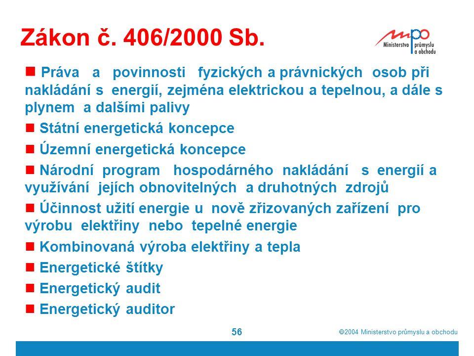  2004  Ministerstvo průmyslu a obchodu 56 Zákon č. 406/2000 Sb. Práva a povinnosti fyzických a právnických osob při nakládání s energií, zejména el