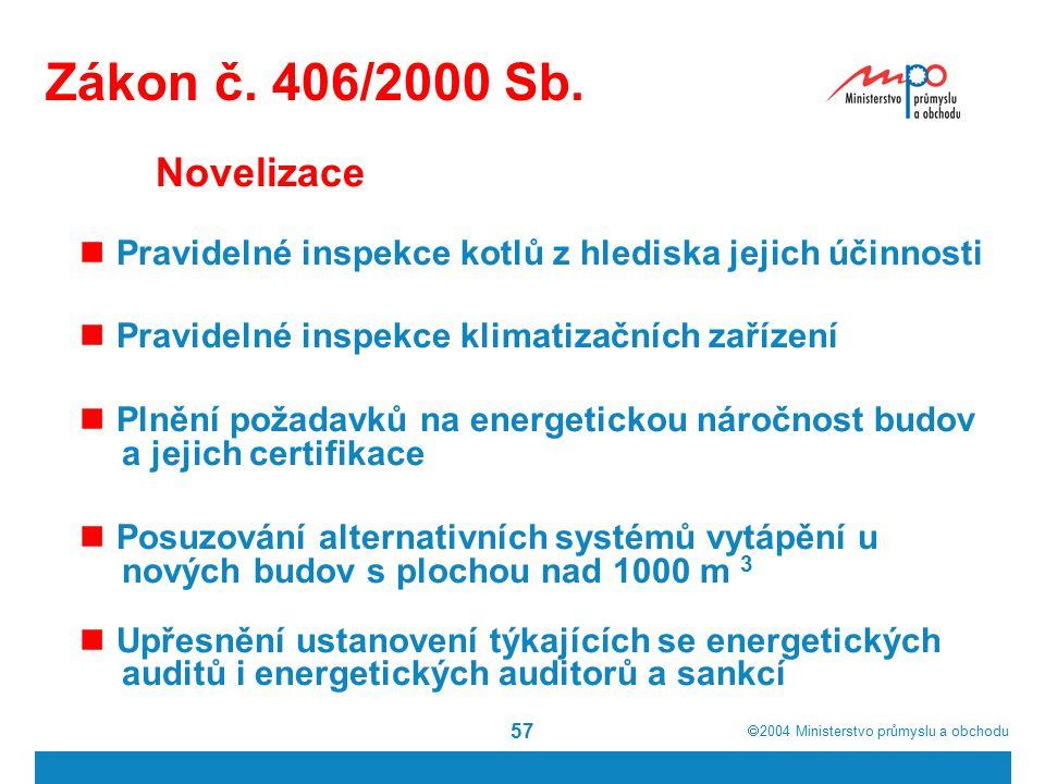  2004  Ministerstvo průmyslu a obchodu 57 Zákon č. 406/2000 Sb. Novelizace Pravidelné inspekce kotlů z hlediska jejich účinnosti Pravidelné inspekc