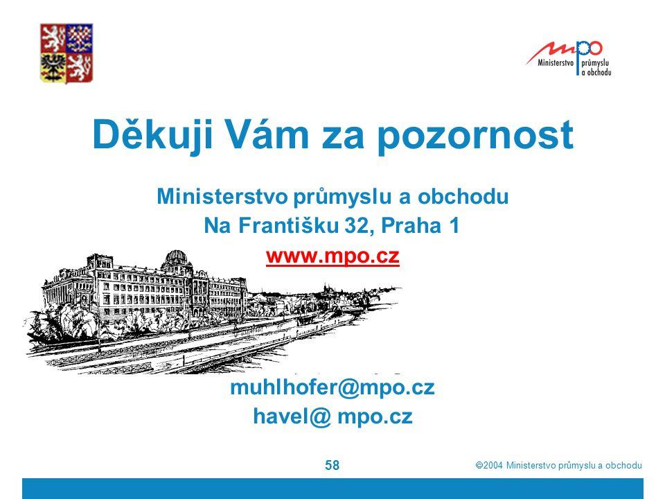  2004  Ministerstvo průmyslu a obchodu 58 Děkuji Vám za pozornost Ministerstvo průmyslu a obchodu Na Františku 32, Praha 1 www.mpo.cz muhlhofer@mpo.cz havel@ mpo.cz