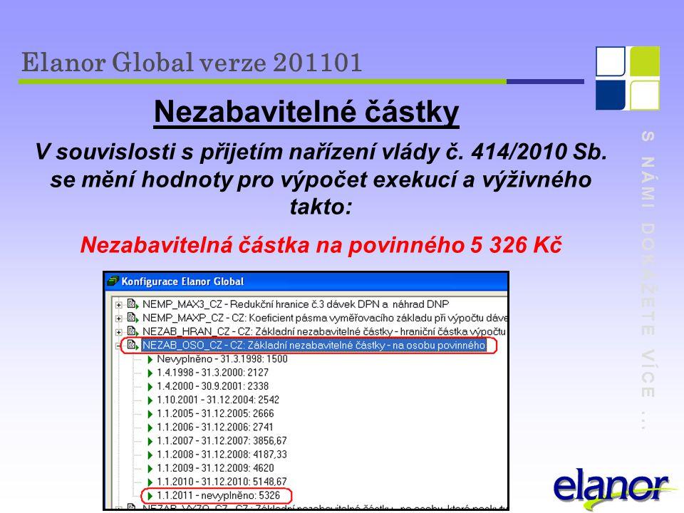 S NÁMI DOKÁŽETE VÍCE... Elanor Global verze 201101 Nezabavitelné částky V souvislosti s přijetím nařízení vlády č. 414/2010 Sb. se mění hodnoty pro vý