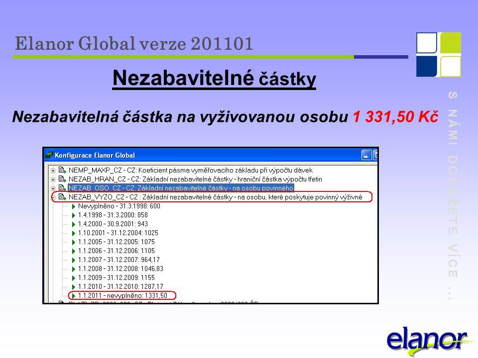 S NÁMI DOKÁŽETE VÍCE... Elanor Global verze 201101 Nezabavitelné částky Nezabavitelná částka na vyživovanou osobu 1 331,50 Kč