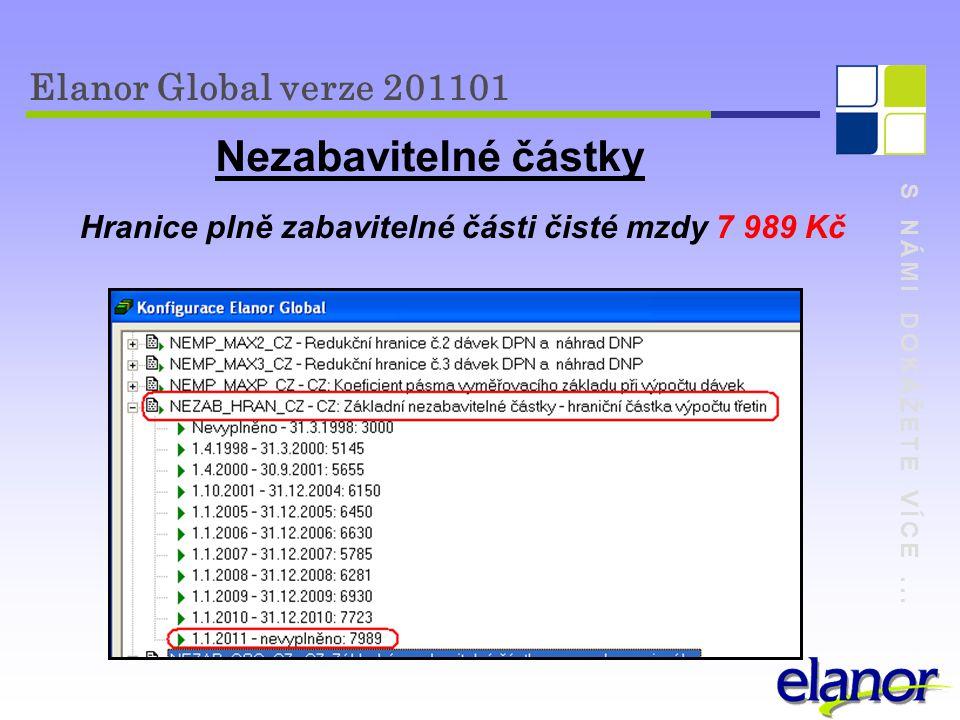 S NÁMI DOKÁŽETE VÍCE... Elanor Global verze 201101 Nezabavitelné částky Hranice plně zabavitelné části čisté mzdy 7 989 Kč