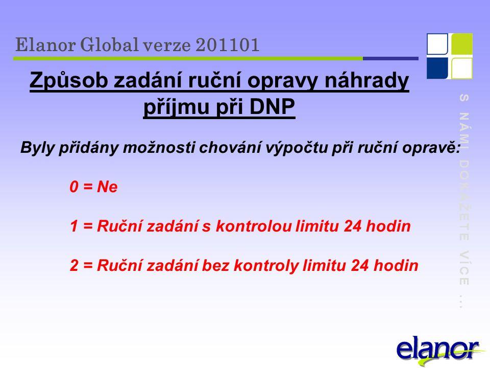 S NÁMI DOKÁŽETE VÍCE... Elanor Global verze 201101 Způsob zadání ruční opravy náhrady příjmu při DNP Byly přidány možnosti chování výpočtu při ruční o