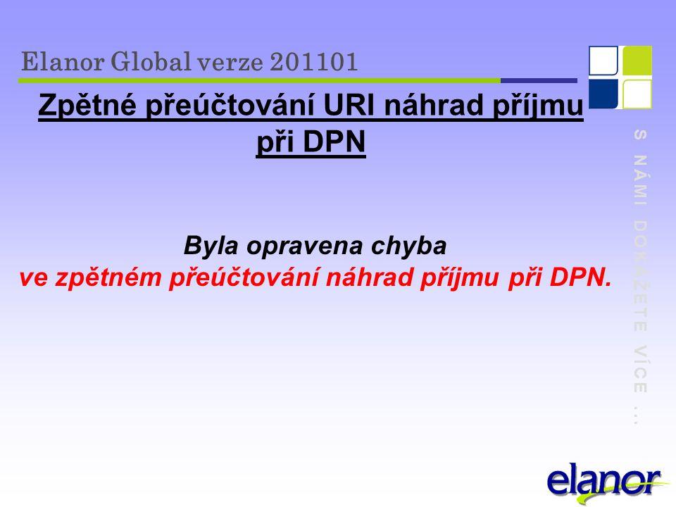 S NÁMI DOKÁŽETE VÍCE... Elanor Global verze 201101 Zpětné přeúčtování URI náhrad příjmu při DPN Byla opravena chyba ve zpětném přeúčtování náhrad příj