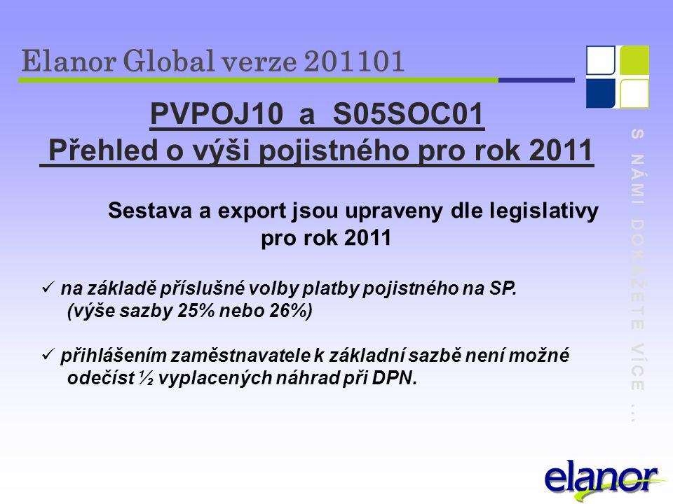 S NÁMI DOKÁŽETE VÍCE... Elanor Global verze 201101 PVPOJ10 a S05SOC01 Přehled o výši pojistného pro rok 2011 Sestava a export jsou upraveny dle legisl