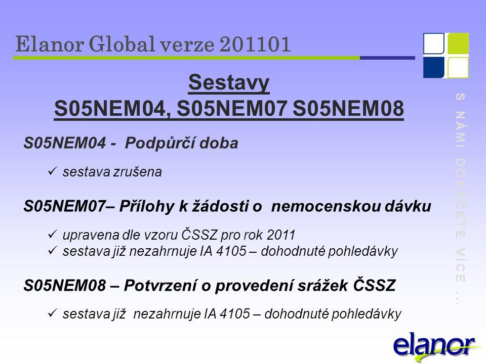 S NÁMI DOKÁŽETE VÍCE... Elanor Global verze 201101 S05NEM04 - Podpůrčí doba sestava zrušena S05NEM07– Přílohy k žádosti o nemocenskou dávku upravena d