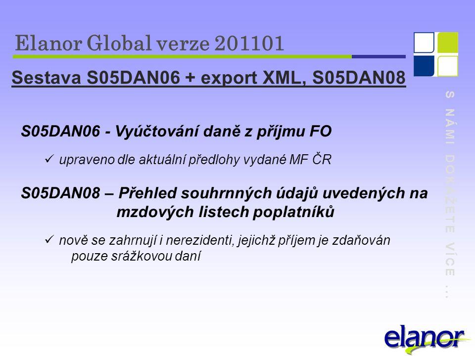S NÁMI DOKÁŽETE VÍCE... Elanor Global verze 201101 Sestava S05DAN06 + export XML, S05DAN08 S05DAN06 - Vyúčtování daně z příjmu FO upraveno dle aktuáln