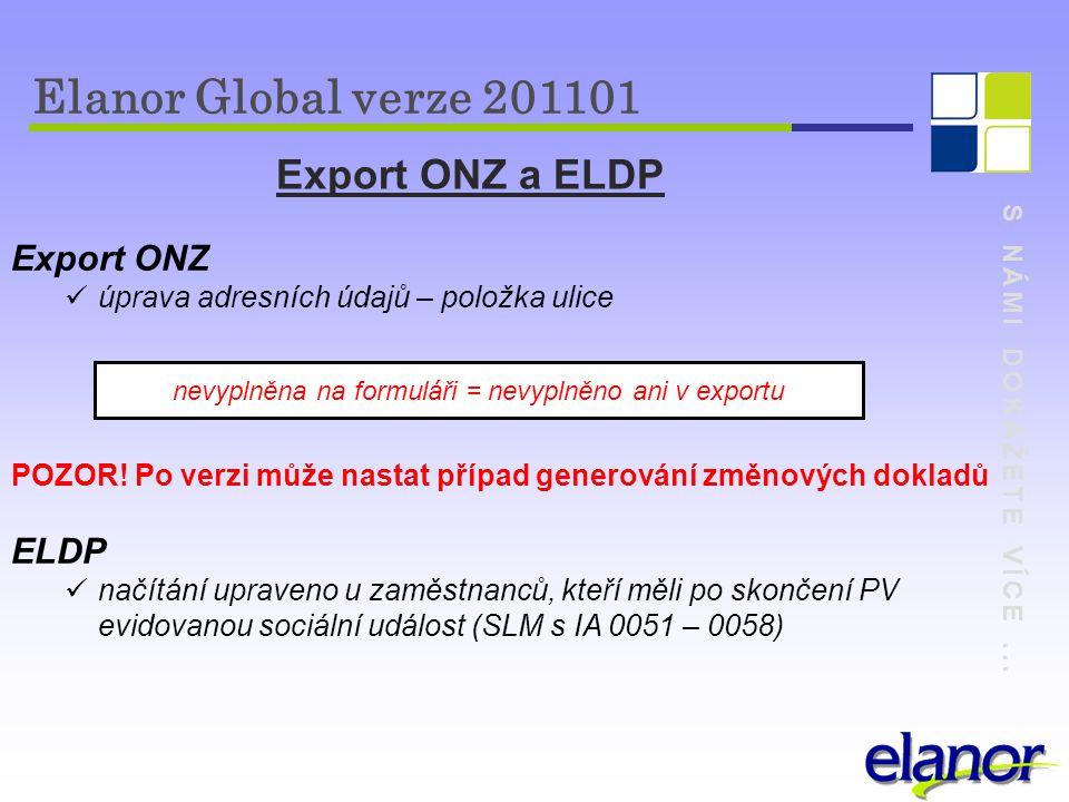 S NÁMI DOKÁŽETE VÍCE... Export ONZ a ELDP Export ONZ úprava adresních údajů – položka ulice POZOR! Po verzi může nastat případ generování změnových do