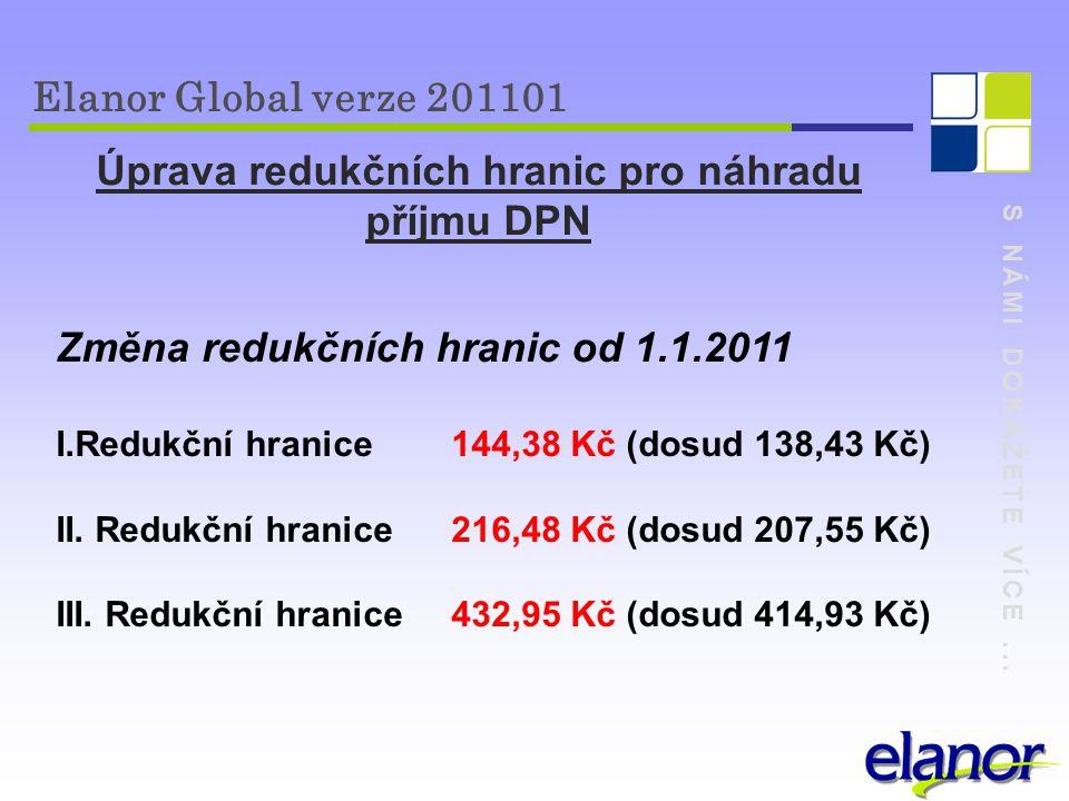 S NÁMI DOKÁŽETE VÍCE... Elanor Global verze 201101 Úprava redukčních hranic pro náhradu příjmu DPN Změna redukčních hranic od 1.1.2011 I.Redukční hran