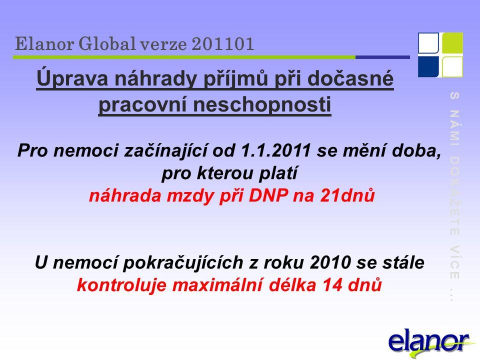 S NÁMI DOKÁŽETE VÍCE... Elanor Global verze 201101 Úprava náhrady příjmů při dočasné pracovní neschopnosti Pro nemoci začínající od 1.1.2011 se mění d