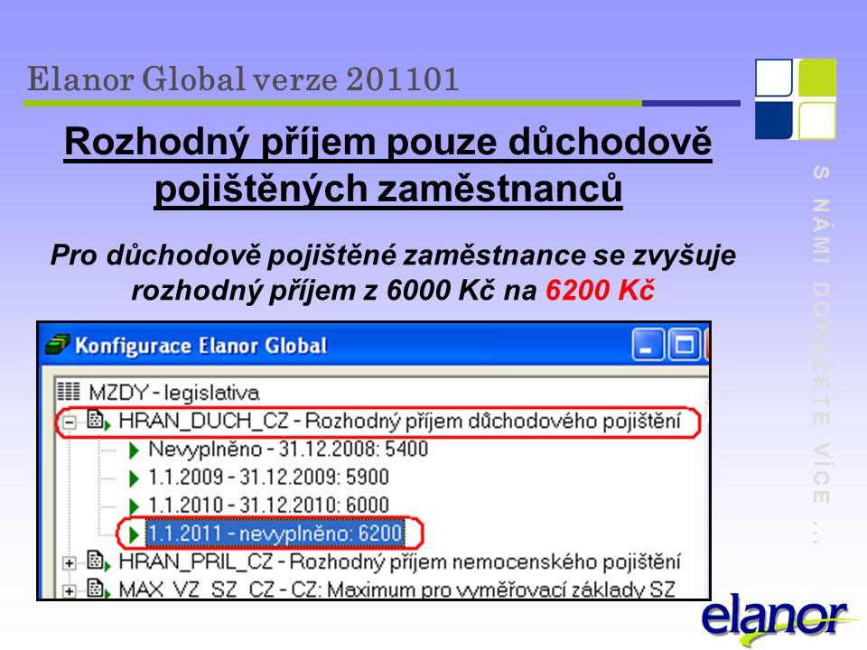S NÁMI DOKÁŽETE VÍCE... Elanor Global verze 201101 Rozhodný příjem pouze důchodově pojištěných zaměstnanců Pro důchodově pojištěné zaměstnance se zvyš