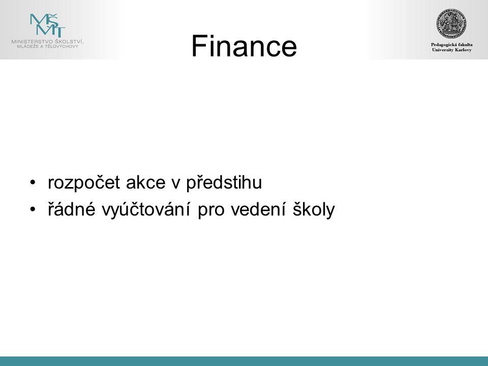 Finance rozpočet akce v předstihu řádné vyúčtování pro vedení školy