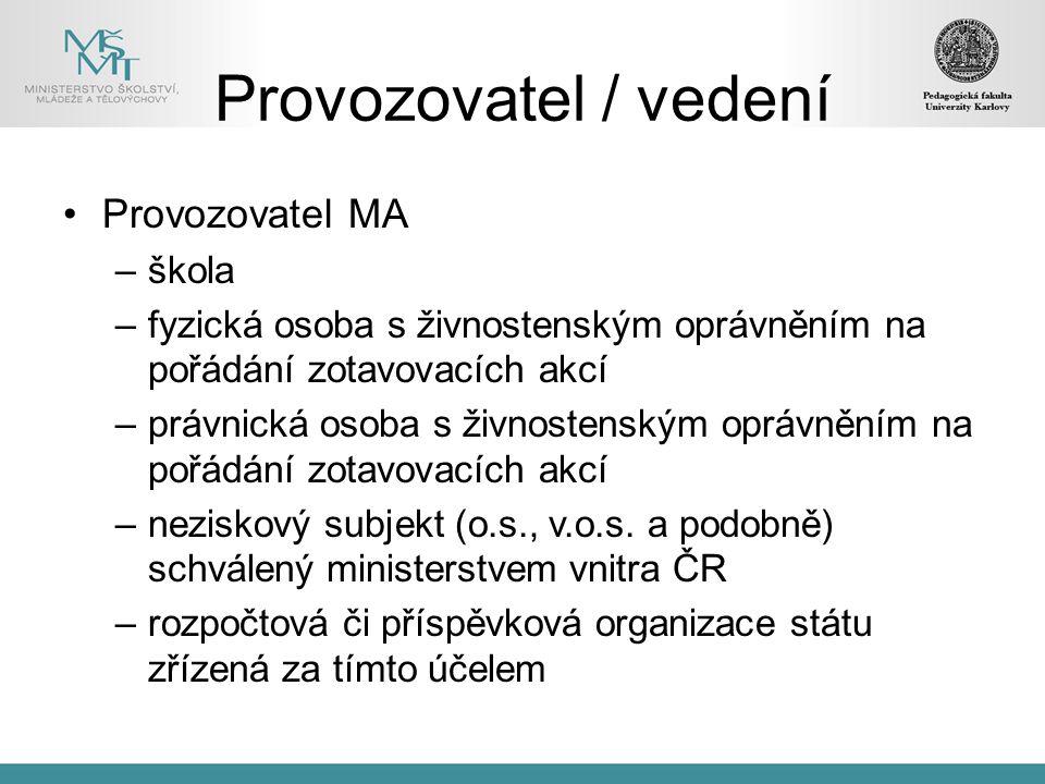Provozovatel/vedení spolupráce musí být definována smlouvou o pravomocích a povinnostech školy a zúčastněných stran